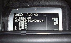 Audi A6 S6 Amp Rs6 Vin Vehicle Identification Chassis Number