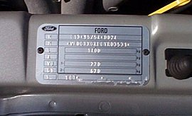 Ford Puma Vin Vehicle Identification Chassis Number